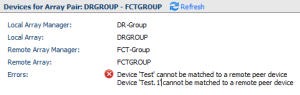 SRM Error: Device Test cannot be matched to a remote peer device